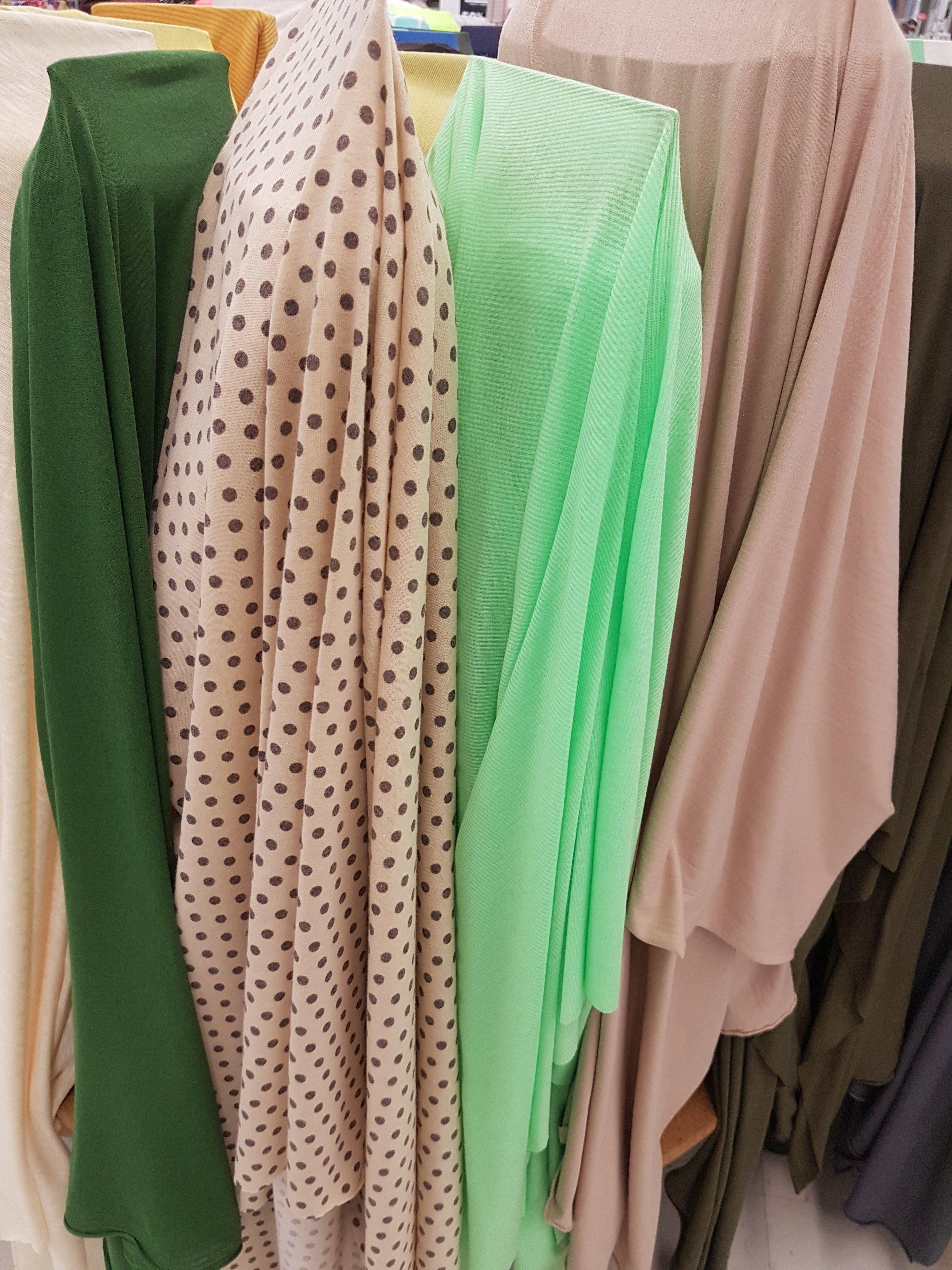 Bolts of knit fabrics