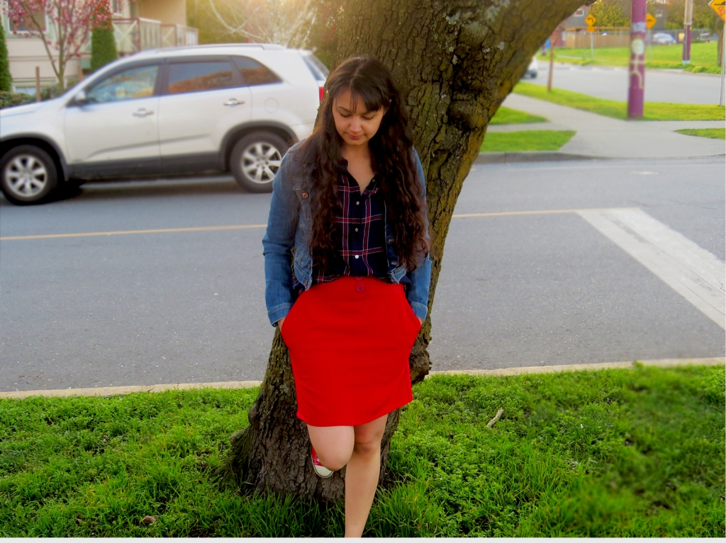 red burda skirt